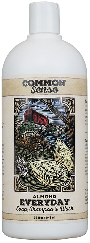Everyday Almond Soap, Shampoo & Wash, 32oz - Common Sense Soap